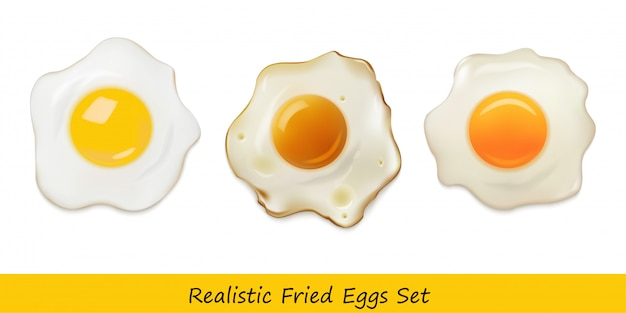 Realistic fried eggs set