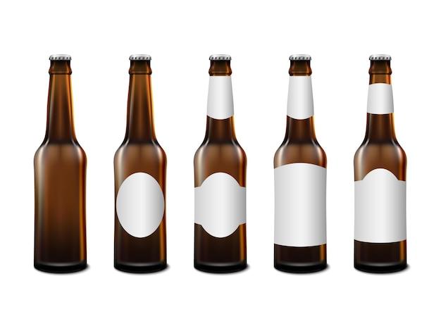 흰색 배경이에 고립 된 현실적인 전면 보기 맥주 병 모형 템플릿