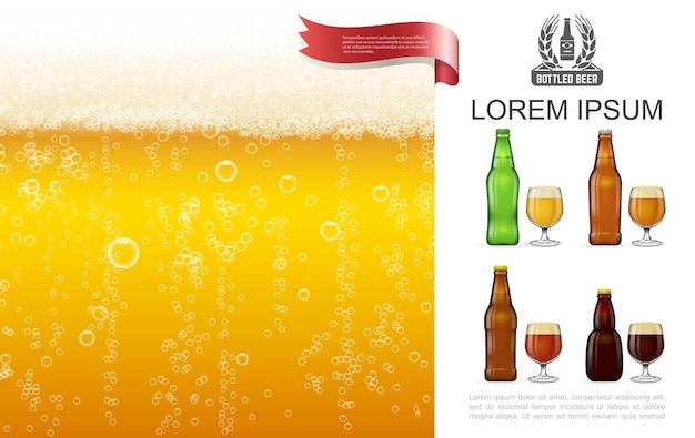 Realistic frothy lager beer  with bubbles glasses and bottles full of various types of beer illustration