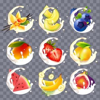 Realistic fruit, beries with milk and yogurt splashes
