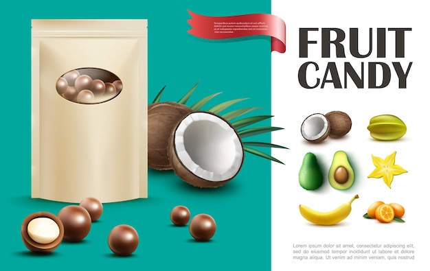 Realistic fruit candies concept with bag of chocolate balls coconut carambola banana avocado vanilla kumquat  illustration