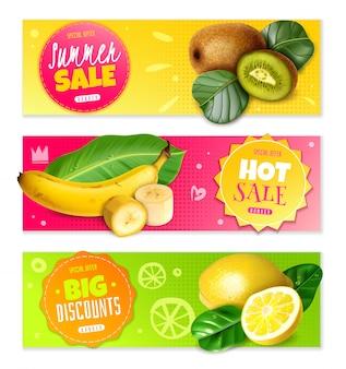 現実的な果物の水平方向のバナー。おしゃれで明るい。販売と割引について。ピンク、黄色、緑の背景に