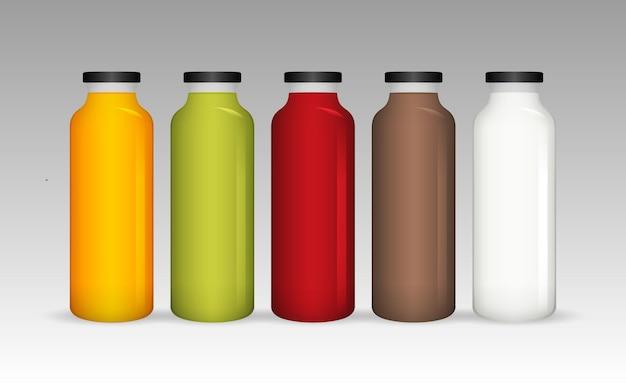 リアルなフルーツジュースの品揃えとチョコレートミルクガラス瓶のコレクション