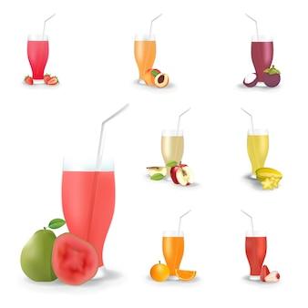 현실적인 과일 주스 음료 흰색 배경 세트