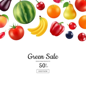 Realistic fruits and berries banner with place for text illustration