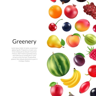 Realistic fruits and berries  with copyspace illustration