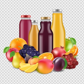Realistic fruits and juices isolated on transparent background