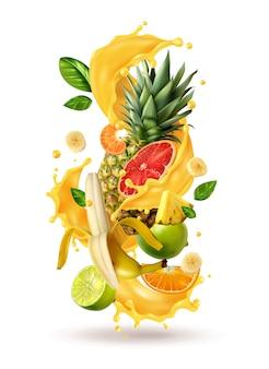 La spruzzata realistica del succo di ftuiys ha scoppiato la composizione con le immagini dello spruzzo e i frutti tropicali maturi sullo spazio in bianco