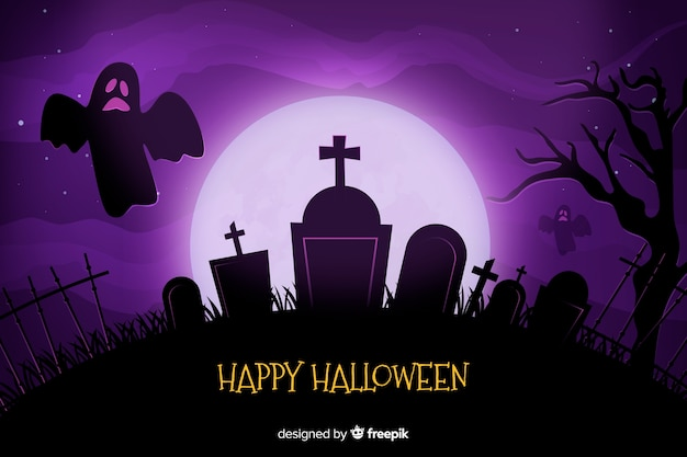 Realistic full moon and cemetery halloween background