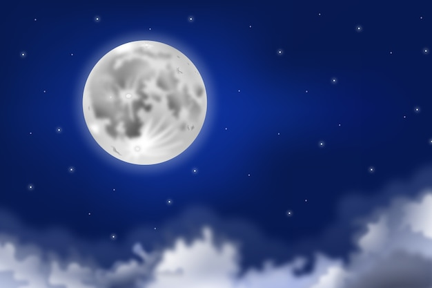 Realistic full moon sky background concept