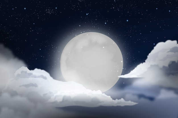 Realistic full moon sky background design