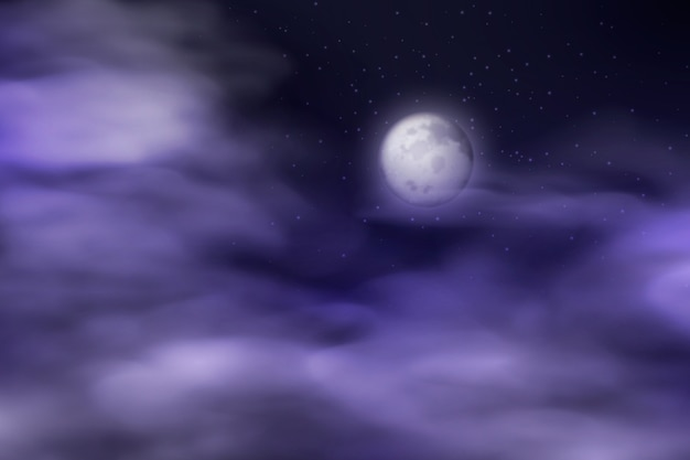 Realistic full moon sky background