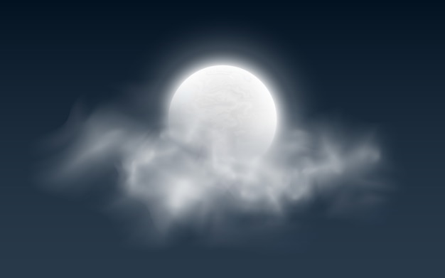 Realistic full moon with clouds on dark