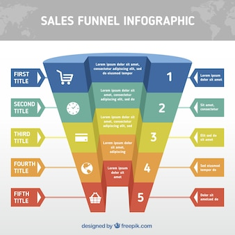 Realistic funnel infographic template with different colors