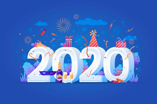 Realistic funny new year 2020 background