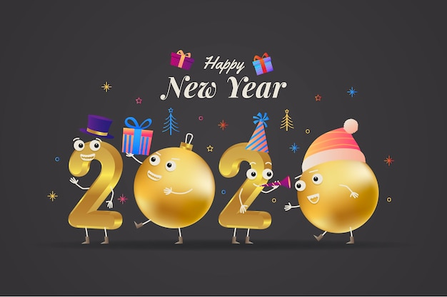 Realistic funny new year background