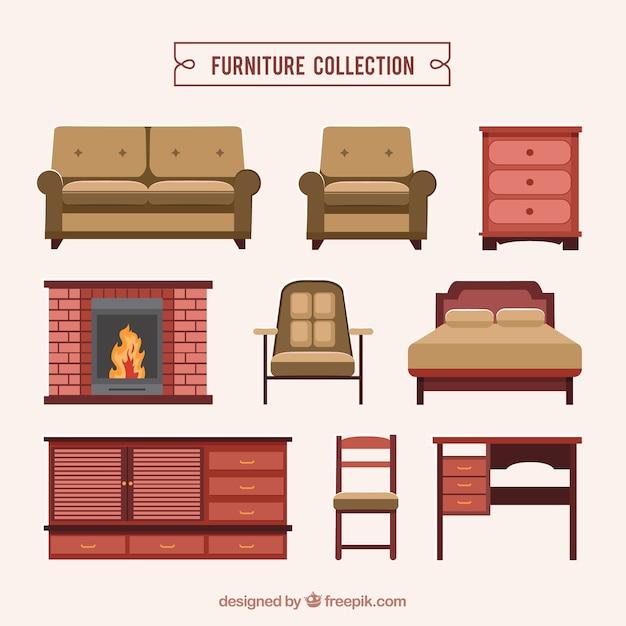 現実的な家具のコレクション