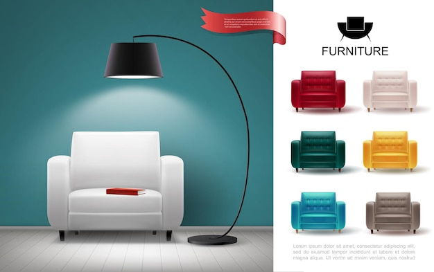 Realistic furniture concept with floor lamp shining on soft chair and colorful armchairs