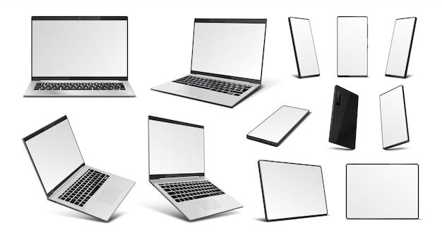 リアルなガジェット。ラップトップ、タブレットpc、携帯電話デバイスのモックアップ、等角投影の空白の画面を備えた3dデジタルガジェット。さまざまな角度でベクトルイラストモバイルデバイス