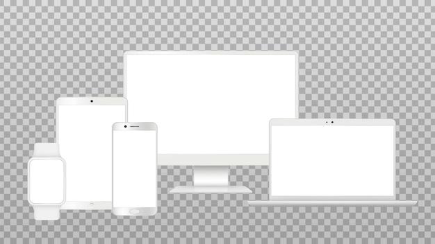 リアルなガジェットのモックアップ。テレビ画面、ラップトップスマートフォン分離テンプレート。ホワイトモダンデバイスベクトルセット。画面のラップトップ、ノートブック、電話のタッチパッドの図