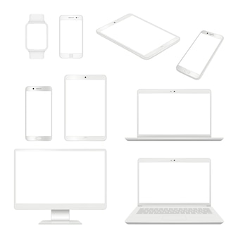 Realistic gadgets. monitor smartphone laptop and tablet blank notebook  mockup computer devices