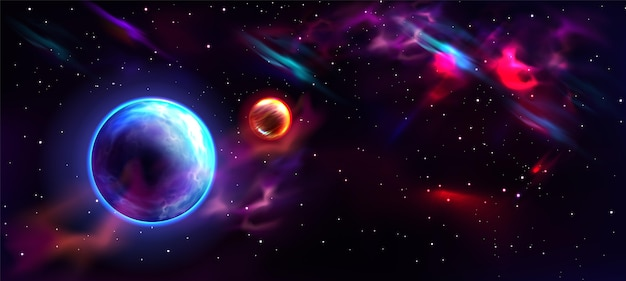 Realistic galaxy background with planet