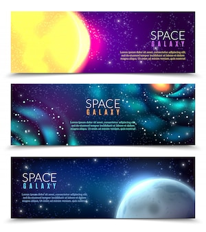 Realistic galaxy banner template