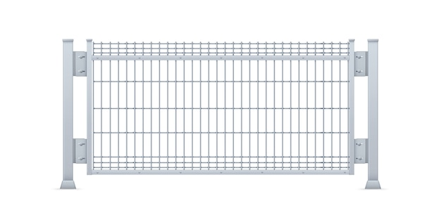 Realistic galvanized sheet metal fence panel.