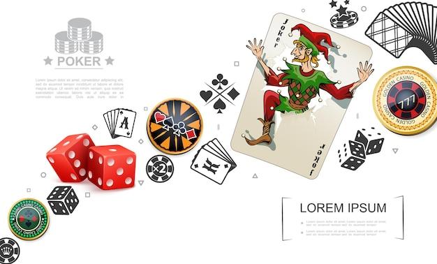 Реалистичная концепция азартных игр и покерных элементов с игральными картами джокера, игральными костями, красочными фишками казино