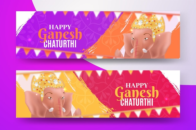 Realistic ganesh chaturthi banner