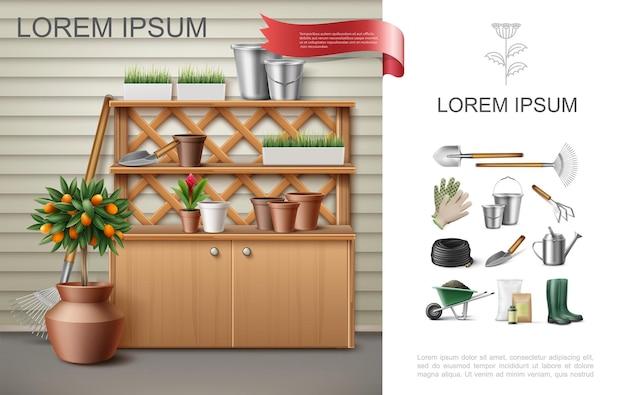 Реалистичная садовая красочная композиция со шкафом и полками с цветочными горшками, ведра, шпатель, фруктовое дерево, красный имбирь, рабочие инструменты, инструменты, иллюстрация