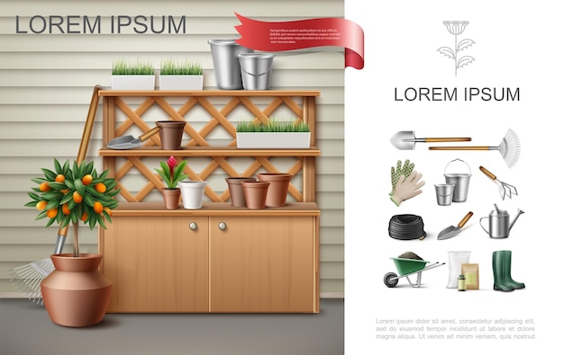 Realistic garden colorful composition with cupboard and shelves with flowerpots buckets trowel fruit tree red ginger work instruments tools  illustration