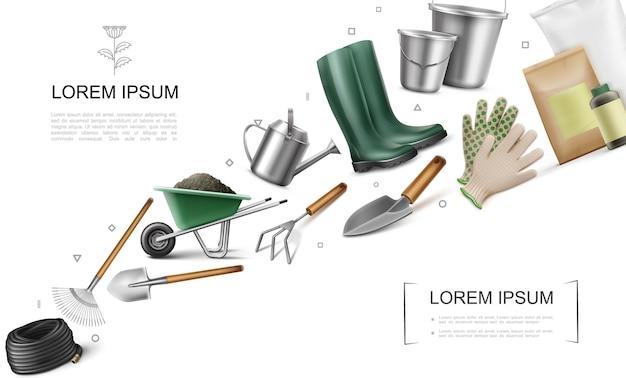 Реалистичная концепция элементов сада с тачкой со шлангом и лопатой для грязи, лопатой, граблями, мешками для удобрений, сапогами, ведрами, лейкой, перчатками, мотыгой, иллюстрация