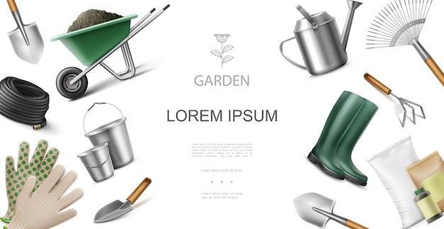 Realistic garden equipment and instruments concept with wheelbarrow of dirt hose buckets trowel rake shovel boots hoe bags of fertilizer watering can gloves  illustration