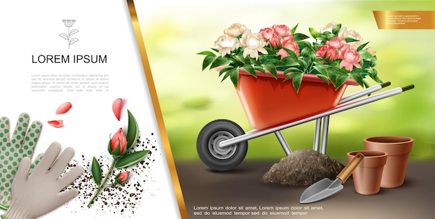 Realistic gardening colorful concept with gloves trowel flowerpot wheelbarrow full of flowers  illustration