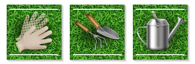 Realistic gardening and seeding elements set with gloves rake trowel watering can on grass background isolated  illustration