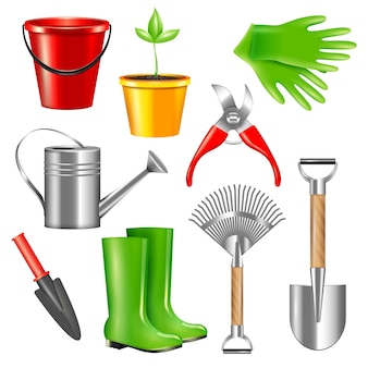 Realistic gardening tool set with isolated   pieces of garden gear equipment on blank