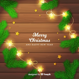 Realistic garland christmas background