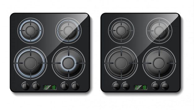Realistic gas stove. black cooker top with burners with flame, hobs with fire