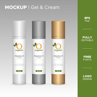 Realistic gel and cream bottle jar and tube design with organic logo