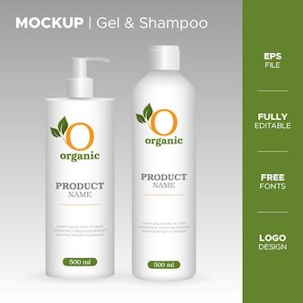 Realistic gel and shampoo bottle jar design with organic logo