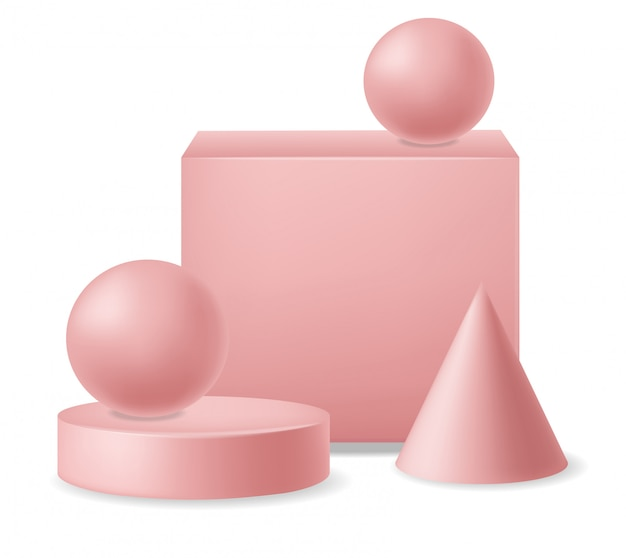 Реалистичные геометрические элементы 3d набор, изолированные, розовые формы