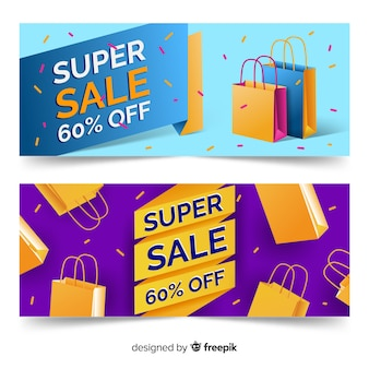 Realistic geometric sale banner collection