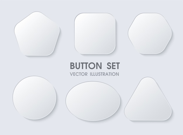 Realistic geometric shape buttons.