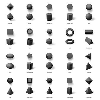 Реалистичные геометрические фигуры. установленные значки иллюстрации основных геометрических полигональных фигур, куба, пирамиды, сферы и призмы. многоугольная реалистичная конструкция, куб и пирамида