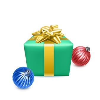 新年のための現実的なギフトボックスとクリスマスツリーのおもちゃ、ベクトル形式