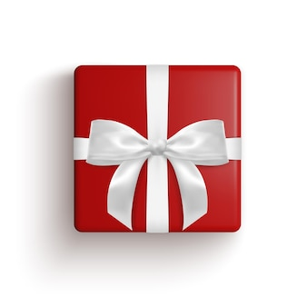Реалистичная подарочная коробка, декоративный подарок на белом фоне. векторная иллюстрация.