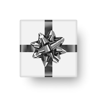 Realistic gift box, top view. bright clipart object