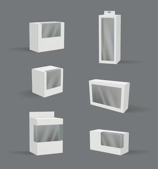 リアルなギフトボックス。透明なプラスチックパッケージ現代製品コンテナベクトル3dイラスト空のモックアップ。現実的な、空白の箱を透明に梱包して梱包する