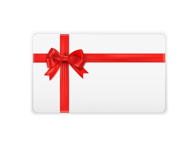 Реалистичный шаблон подарочной карты с красной лентой и бантом